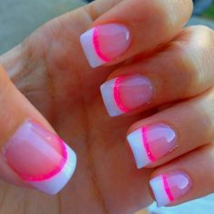 Unique French tip-This is so simple. It's a acrylic glitter tip in pink with white paint over a portion of that pink tip. If you have natural nail, you can paint a white tip and use a thin brush to paint color of your choice underneath.