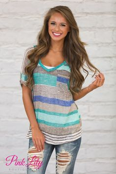 Stripe A Pose Tee Mint - The Pink Lily