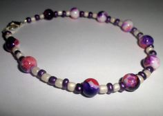 Purple Pink and White Bead Anklet by MandyPandyGiftShop on Etsy
