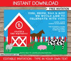 Free Printable Barnyard Farm Invitation | Birthday Party Theme | Editable DIY Template | via SIMONEmadeit.com