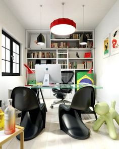 19 Home Office Interior Design Ideas : Exciting Colorful Workspace Well Designed With Black Panton Chairs And Square Glass Desk Therewith Wa...