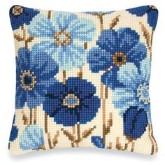 Cross Stitch Kits Blue Blossoms Pillow Top - Cross Stitch, Needlepoint, Embroidery Kits – Tools and Supplies Needlepoint Pillows, Needlepoint Designs, Needlepoint Stitches, Needlepoint Kits, Needlework, Embroidery Kits, Cross Stitch Embroidery, Flower Embroidery, Cross Stitch Designs