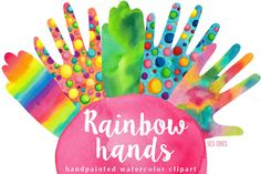 Rainbow Hands Watercolors by SLS Lines on @creativemarket