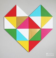 Geometric Heart ~ Card, Scrapbook, SMASH book, Project Life, Journal