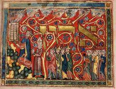 Recebimento das leis por intermédio de Moisés.  Origem: Alemanha, S. (região de Lake Constance) British Library.