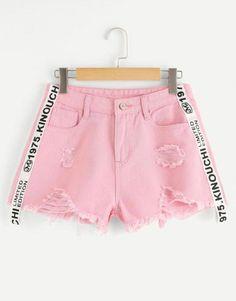Raw Hem Ripped Letter Denim ShortsFor Women-romwe Raw Hem Ripped Letter Denim Shorts For Women-romwe