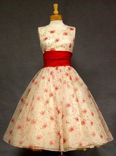 Red and white printed dress with red sash, c. 1950-1960s