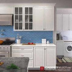 Shop K-Series White Kitchen Cabinets. The line offers solid birch wood and a provides a new color to the existing popular K-series. Kitchen Cabinets On A Budget, Traditional Kitchen Cabinets, Kitchen Cabinet Door Styles, Cabinet Styles, Painting Kitchen Cabinets, Kitchen Cabinet Design, Kitchen Tiles, Plywood Shelves, Types Of Cabinets