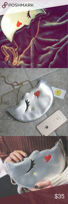 Whimsical silver moon shaped embroidered purse Such a fun addition to any outfit or closet! Bags