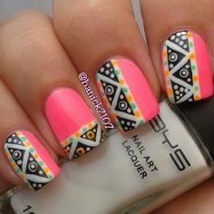 Pastel Geometric Tribal #Nailart #Nails