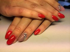 Red almond Nails done by me on My sister