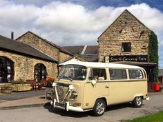 Lovely day for a wedding at South Causey Inn. VW Deluxe Weddings, chauffeur driven VW Campervan wedding hire in Northumberland, Tyne & Wear, and Durham.