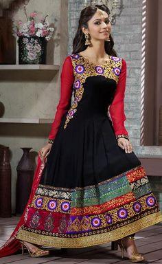 $80.63 Black Embroidered Faux Georgette Long Anarkali Salwar Suit 24215