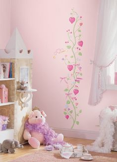 Watch her grow with our delicate fairy princess Peel and Stick growth chart! This beautiful heart vine comes complete with repositionable ribbons that can be used as markers or as additional decorativ