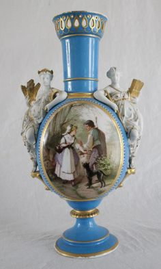 Antique hand painted Sevres French porcelain urn vase. Has hand painted scene with a shepherd and young woman conversing in an exterior scene.