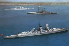 Admiral Graf Spee at the 1937 coronation of King George VI, with HMS Hood and an R class battleship