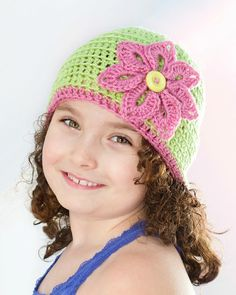 Basic Spring Beanie & Flower Crochet Pattern via My Favourite Things