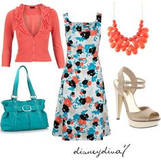 Loving the coral and turquoise of this outfit!