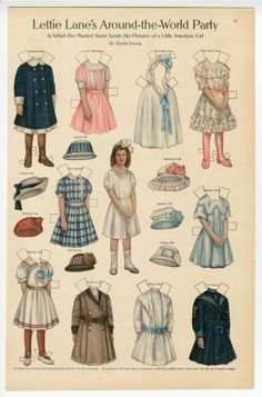 Lettie Lane's around the World Party: Little American Girl  paper doll  1911  Artist:  Sheila Young