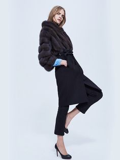 Russian Sable Fur and Black Cashmere Coat