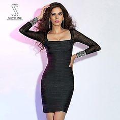SIBYLLINE+Women's+Square+Long+Sleeve+Sexy+Slim+Short+Mini+Bandage+Dress+–+EUR+€+69.99