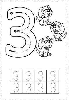 Starting points and directional arrows given to help practice writing numbers 1 -