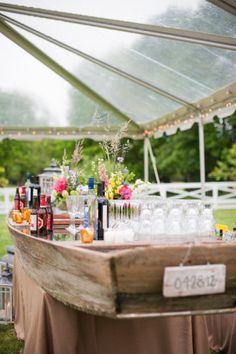 row boat bar at wedding