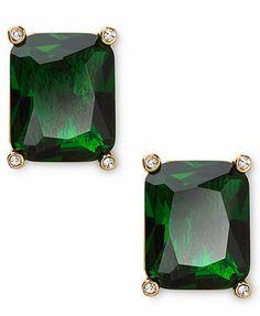 Lauren Ralph Lauren Earrings, 14k Gold-Plated Rectangular Emerald Glass Stud Earrings