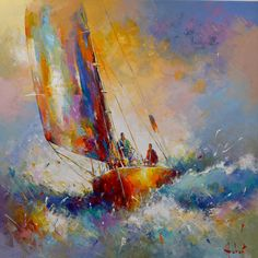 Painting, Oil by Franck Hebert (France) via Impressionist Paintings, Impressionism Art, Seascape Paintings, Canvas Frame, Oil On Canvas, Sailboat Painting, Boat Art, Art Original, Coastal Art