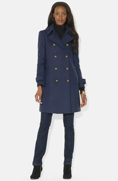 Lauren Ralph Lauren Double Breasted Wool Blend Peacoat (Online Only) available at #Nordstrom