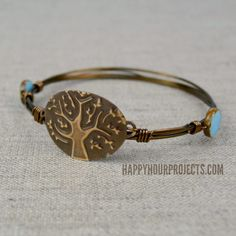 Embossed Tree Wire Wrapped Bangle