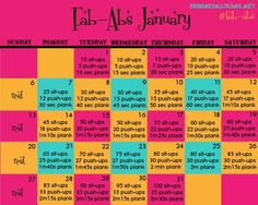 Ab workout calendar