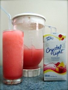 Ingredients:  Vodka  Ice  2 Packets of Crystal Light, individual serving sized  Blender  Directions:  here's a rough estimation:    - Fill blender with ice 3/4 full.  - Pour vodka to fill 1/3 of the pitcher  - Add two packets of Crystal Light  - Blend until smooth  - Taste and adjust ice and vodka as needed