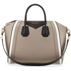 Givenchy Antigona Small Tricolor Satchel Bag,Taupe/White/Black found on Polyvore