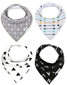 Baby Bandana Drool Bibs with Snaps For Boys & Girls Drooling and Teething, Unisex Set of 4 Absorbent Cotton Baby Gift Dribble Bibs By CAMIRUS (Black/White/Gray), http://smile.amazon.com/dp/B01HPHZGJ0/ref=cm_sw_r_pi_awdm_x_iR0hybCCRQFV7