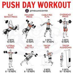 Push Pull Workout Routine, Push Day Workout, Workout Splits, Gym Workout Chart, Gym Workout Videos, Gym Workout For Beginners, Workout Routines, Chest Workout For Men, Gym Workouts For Men