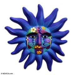 wall decor, 'Sentinel Sun' Sentinel Sun from They help succeed worldwide.Sentinel Sun from They help succeed worldwide. Ceramic Mask, Ceramic Painting, Sun Painting, Rock Painting, Mexican Ceramics, Sun Art, Sun Moon Stars, Mexican Folk Art, Wall Decor