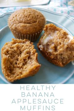Healthy Banana Applesauce Muffins Healthy, whole wheat banana applesauce muffins help you use up overripe bananas – without requiring an exact amount of mashed bananas! Whole Wheat Banana Bread, Healthy Banana Bread, Banana Bread Recipes, Healthy Banana Recipes, Banana Recipes For Toddlers, Healthy Muffins For Toddlers, Banana Recipes Clean Eating, Healthy Oatmeal Muffins, Morning Glory Muffins