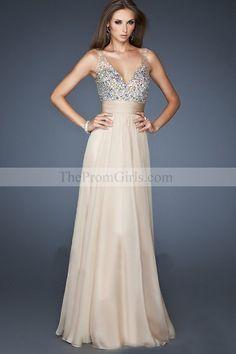 2013 Prom Dresses White A Line V Neck Chiffon Floor Length