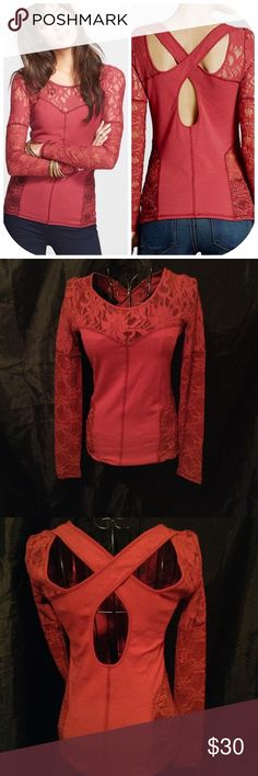 "Free People ""Sweet Thang"" Lace sleeves and criss cross back. In Burnt Red. Size XS -excellent condition Free People Tops Blouses"