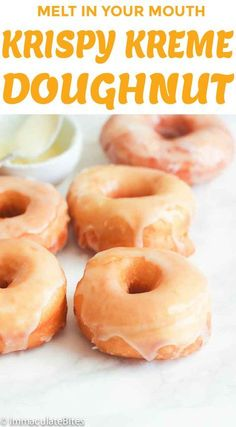 The BEST Krispy Kreme Copycat Recipe! You'll love these original glazed donuts. This detailed recipe will teach you how to make perfect Krispy Kreme doughnuts at home. The chewy texture is spot on! Learn how to make these donuts on The Worktop. Easy Donut Recipe, Baked Donut Recipes, Baking Recipes, Dessert Recipes, Amish Donuts Recipe, Homemade Doughnuts Easy, Crispy Cream Donuts Recipe, Cake Recipes, Desserts