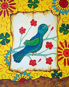 """Original Painting by Modern Folk Artist Julie EllisonFirst Painting in the  """"Birds of a Feather Series"""""""