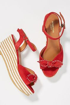 1805f3e219f3 Schmoove Ariel Platform Wedge Sandals - Striped   red with bow wedges at