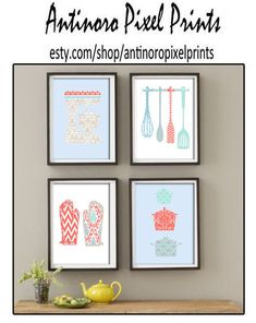 Kitchen Tools Coral Blue Grey Turquoise White Art Collection  -Set of (4) - 5x7 Prints (Unframed)
