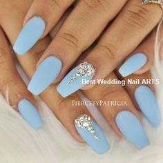 There are three kinds of fake nails which all come from the family of plastics. Acrylic nails are a liquid and powder mix. They are mixed in front of you and then they are brushed onto your nails and shaped. These nails are air dried. Blue And Silver Nails, Light Blue Nails, Baby Blue Nails With Glitter, Blue Diamond Nails, Black Nails, Nails With Diamonds, Jewel Nails, Oval Nails, Blue Acrylic Nails