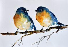 Aquarelle originale peintures bleus oiseaux sur par ArtCornerShop