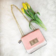Coral Tricolor Chain Strap Bag Super cute and great for spring! This bag is a coral color on the front, white back and chocolate bottom (kind of like a neopolitan ice cream ) Gold chain strap thag can be double for a shoulder bag or longer for cross body. Gold hardware toggle clasp. Bags Crossbody Bags