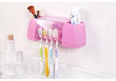 Zetti Wall Mount Sticker Toothbrush holder Bathroom Organizer  Pink >>> Continue to the product at the image link. Note:It is Affiliate Link to Amazon.
