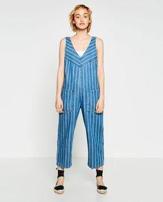 $70 Image 1 of STRIPED DENIM JUMPSUIT from Zara