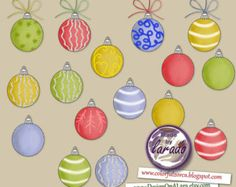 Christmas Clipart - Christmas tree Balls, Christmas Holiday Clipart, Hand drawn Christmas Clip art, Original Clipart Package